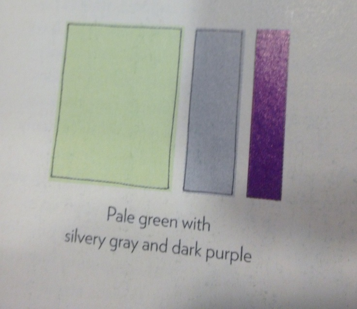 Green Wall Color Scheme And Purple Beds In Small Teenage: Pale Green With Grey And Dark Purple (color Scheme