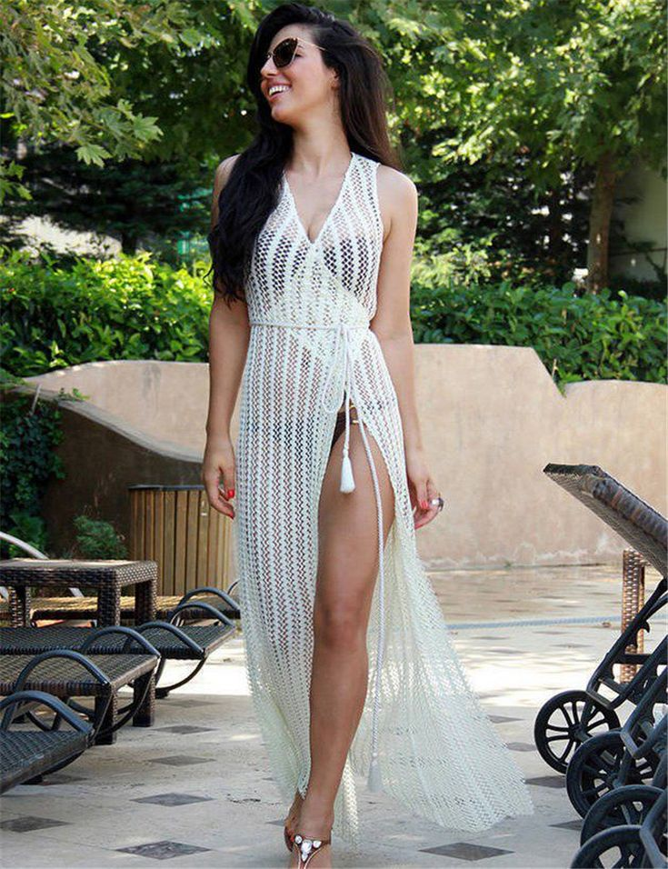 Crochet long white hollow bikini cover up, Swimwear - Just Trendy