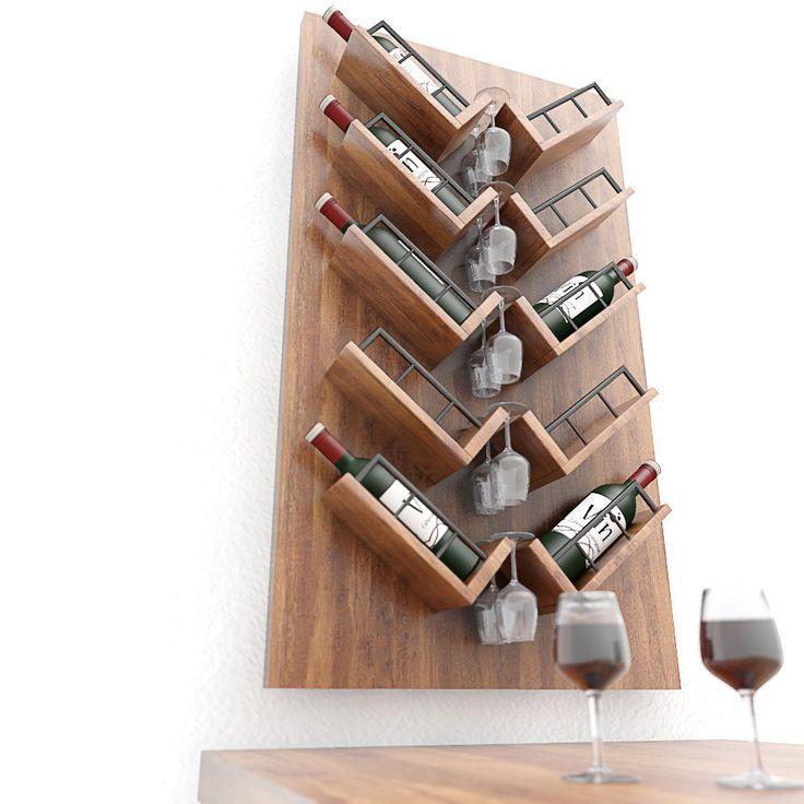 Dit luxe #wijnrek is geschikt voor 10 wijnflessen en 5 tot10 wijnglazen. Het #wandrek is gemaakt van eikenhout.