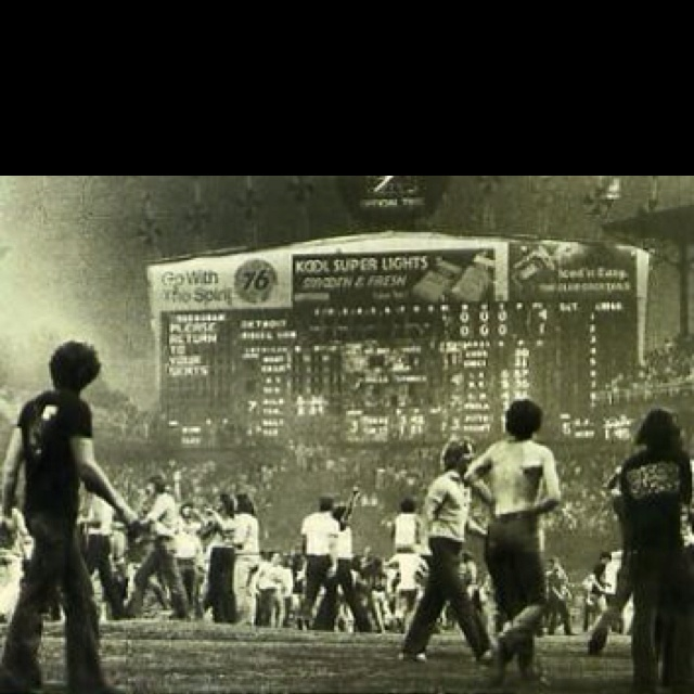 Disco Demolition at Comiskey Park in 1979