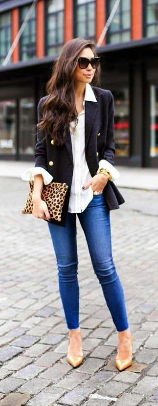 Navy Blazer with Gold Button , Skinnies Jeans , Lepord Clutch Purse | Best Street Fashion