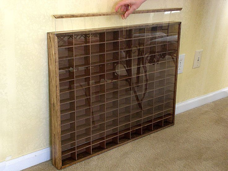 Matchbox - Hot Wheels Wall Display Case W/COVER1/64 scale Hand Made Walnut Stain - Track