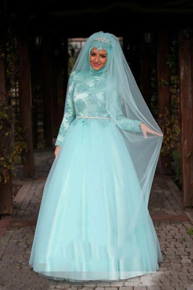 2014 New Fashion Arabic Gown Long Sleeve Lace Patterns Blue Hijab Dubai Muslim Bridal Wedding Dress