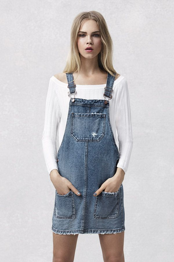 Over roll necks or off-the-shoulder tops, a denim pinafore is an all-season essential. #newlook #denim