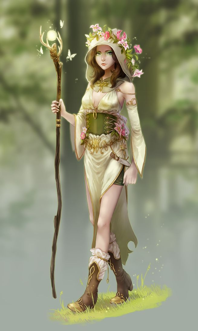 Forest mage by meago female druid ranger wizard warlock witch staff sorcerer sorceress armor clothes clothing fashion player character npc | Create your own roleplaying game material w/ RPG Bard: www.rpgbard.com | Writing inspiration for Dungeons and Dragons DND D&D Pathfinder PFRPG Warhammer 40k Star Wars Shadowrun Call of Cthulhu Lord of the Rings LoTR + d20 fantasy science fiction scifi horror design | Not Trusty Sword art: click artwork for source