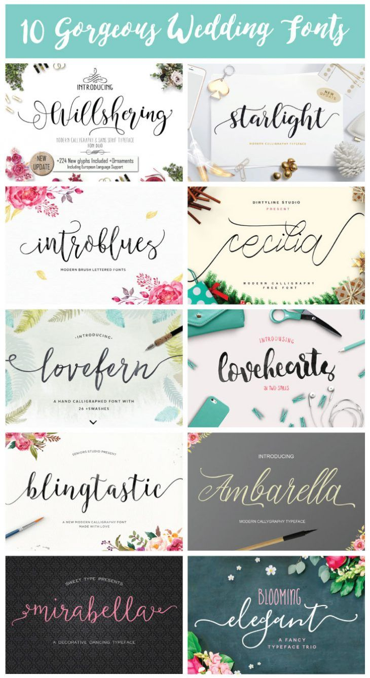 10 Gorgeous Wedding Fonts -- DIY-ing your wedding or looking for some new elegant script fonts? Check out these gorgeous wedding fonts!                                                                                                                                                                                 More