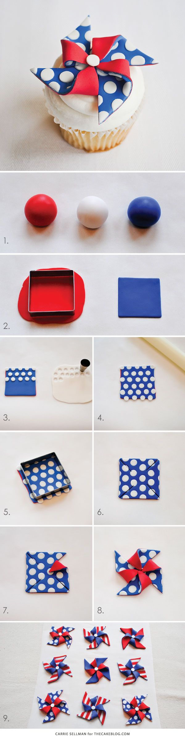 DIY Patriotic Pinwheel Cupcakes in Red, White & Blue |by Carrie Sellman for TheCakeBlog.com