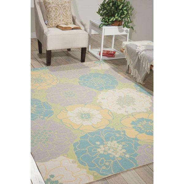 Nourison Home and Garden Green Indoor/ Outdoor Area Rug (5'3 x 7'5) | Overstock.com Shopping - The Best Deals on 5x8 - 6x9 Rugs
