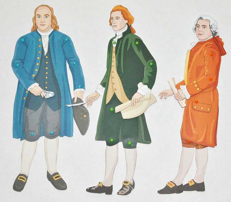American Revolution activities for kids: Benjamin Franklin, Thomas Jefferson, and John Adams from Famous Figures of the American Revolution: Movable Paper Figures to Cut, Color, and Assemble. Each of the figure pieces were cut out from the book (pages made of card stock), a hole punch was used at the articulation points, and mini brads placed at the joints to make a movable figure. Children who love crafts will have a lot of fun making ten movable figures from this book.
