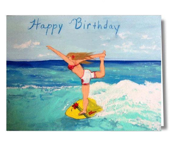 Yoga Surfer Girl Happy Birthday Printable Card,Birthday Ecard,Instant Download Surfer Card, DIY Birthday Card,Homemade Birthday Card by CowberryMoonCards on Etsy