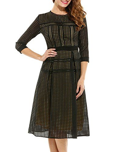 ANGVNS Womens NEW Elegent Half Sleeve Dress Black Large >>> Find out more about the great product at the image link.