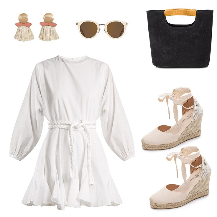 - A little white dress can transition from summer to fall if you opt for a mini silhouettewith long sleeves (just add tall boots come fall). While it's still warm,espadrilles and tassel earrings savor the end of summer.