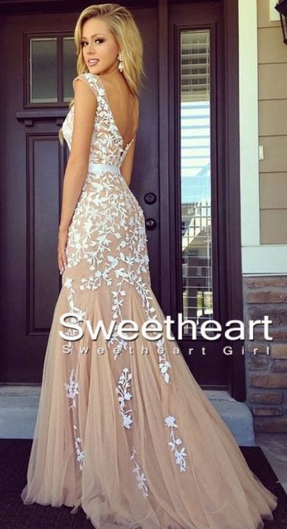 Long Prom Dresses,A-line backless Lace Prom Dresses, Lace Evening Dresses