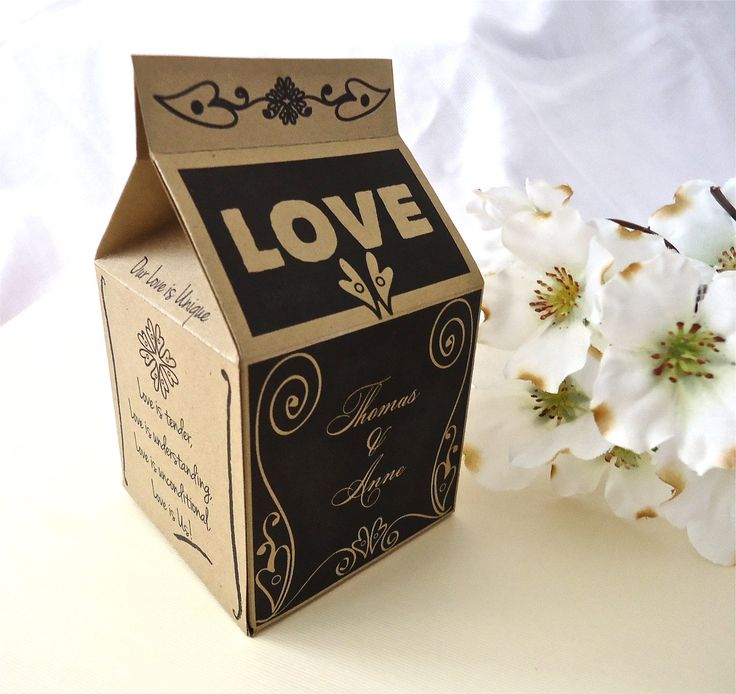 LOVE Milk Carton Wedding Favor Box. Natural Wedding. Black and Brown wedding. Wedding favor box. Engagement party. Bold and Simple box. via Etsy.