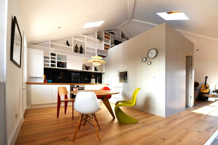 Separate kitchen from living room by adding a bathroom block in the middle with a sleeping loft on top.