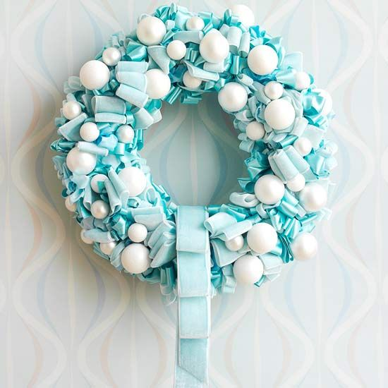Decoration, Cool White And Blue Christmas Wreath Decorating Ideas Attached On Mosaic