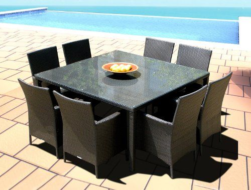Outdoor Patio Wicker Furniture New Resin 9 Pc Square Dining Table & Chairs Set   Best Buy Outdoor Living Products Store