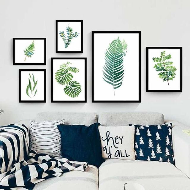 Beautiful Fresh Simple Natural Modern Watercolor Green Leaf tropical Plant Cottage Canvas Large Print Poster Wall Picture