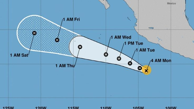 7/24/2017 HURRICANE: The National Hurricane Center showing the forecast track of Hurricane Hilary.