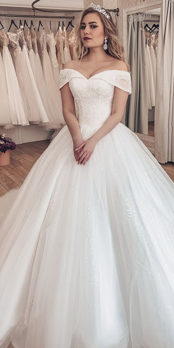 238 50 Sparkling Tulle Off The Shoulder Neckline Ball Gown Wedding Dresses With Rhinestones Magbridal Com Cn Ball Gowns Wedding Wedding Dresses Ball Gown Wedding Dress