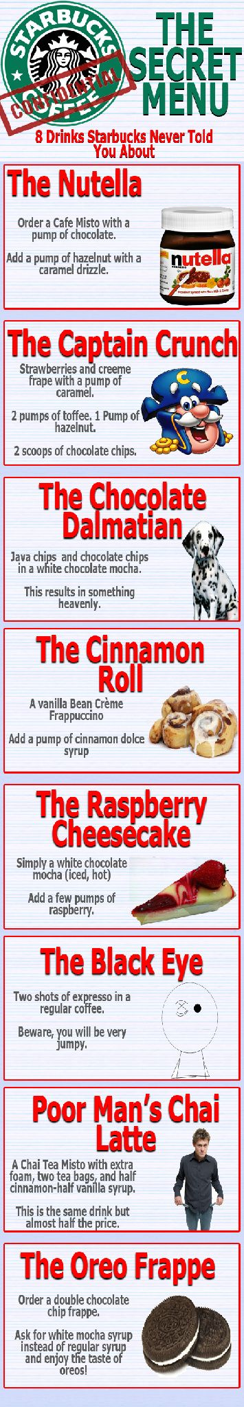 trying all of these!: Starbucks Drinks, Recipe, Drinks Menu, Crunches, Cinnamon Rolls, Starbuckssecretmenu, The Secret, Starbucks Secret Menu, Secret Starbucks