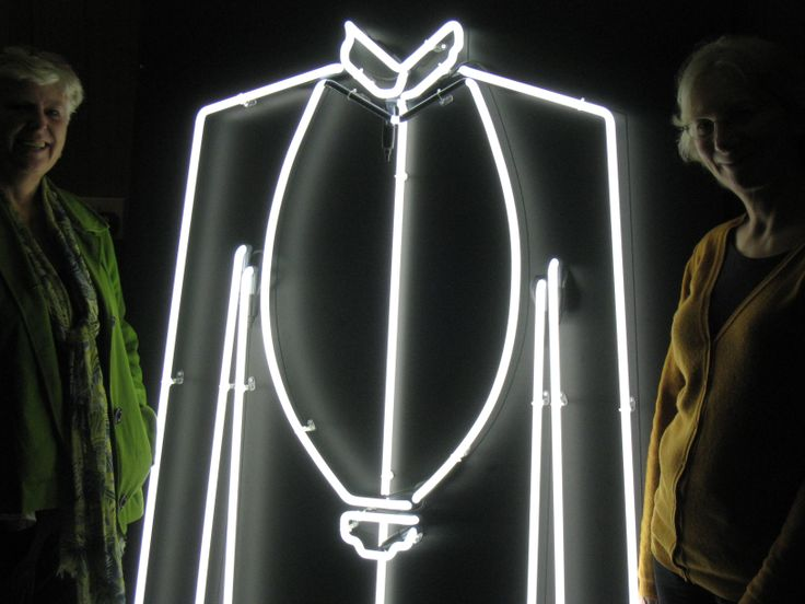Behind the scenes at Lumiere Derry~Londonderry 2013: Hilary and Lesley with one of their neon shirts.