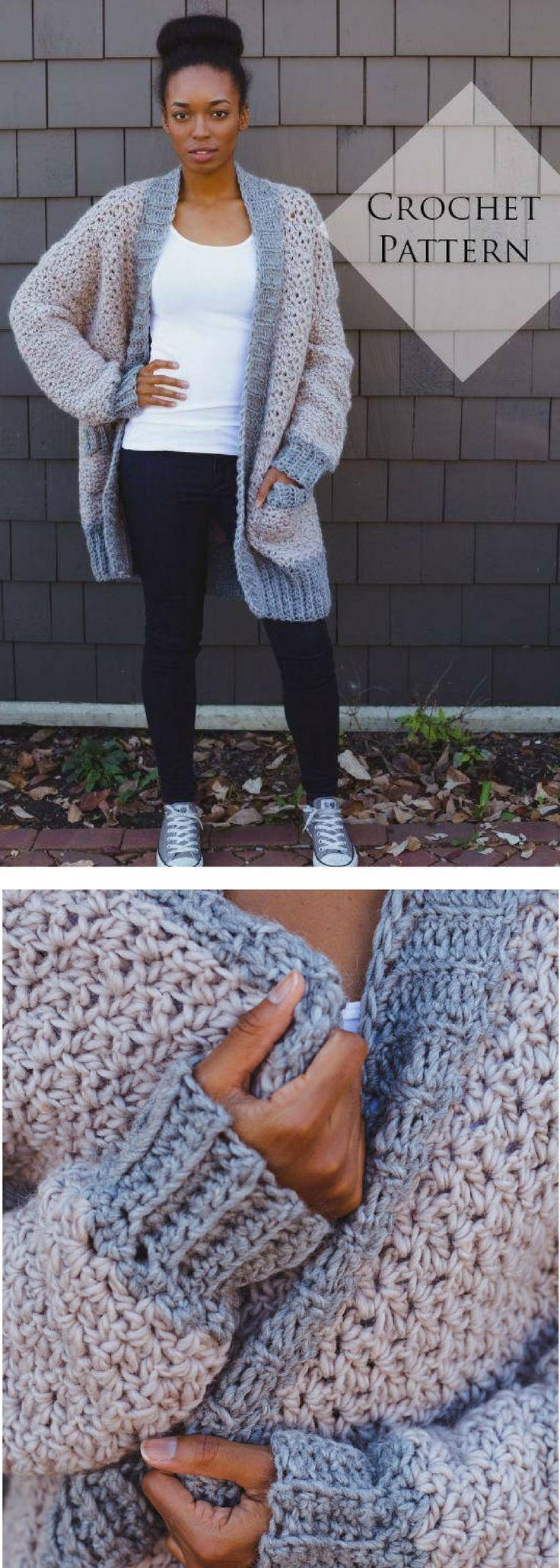 Veronica Cardi Crochet Pattern // PDF Pattern Oversized Fall Sweater Chunky Card…