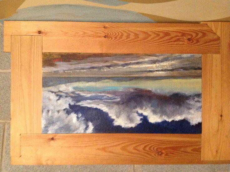 Luccichii del mare, olio su tela 30x60 montato su una cornice realizzata con assi recuperate dalla spiaggia e trattate