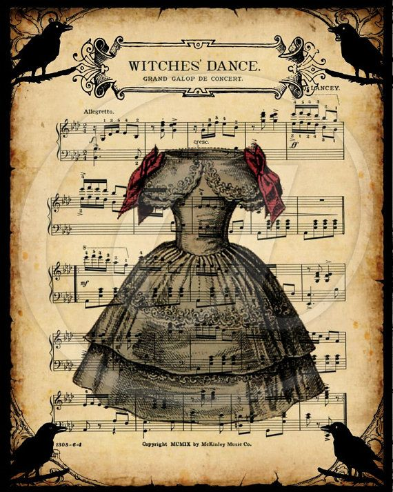 Witches Dance Vintage Sheet Music 8x10  printable by HopePhotoArt, $3.49