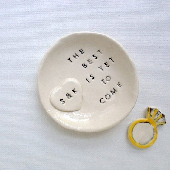Custom ring dish engagement gifts for couple personalized best is yet to come ring holder handmade by Cathie Carlson   – gift/favor