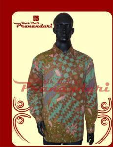 Kemeja Coklat Bahan Batik Cirebon