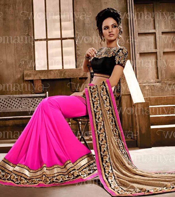 Naksh - Stunning Pink Beige and Black Designer Party Wear saree