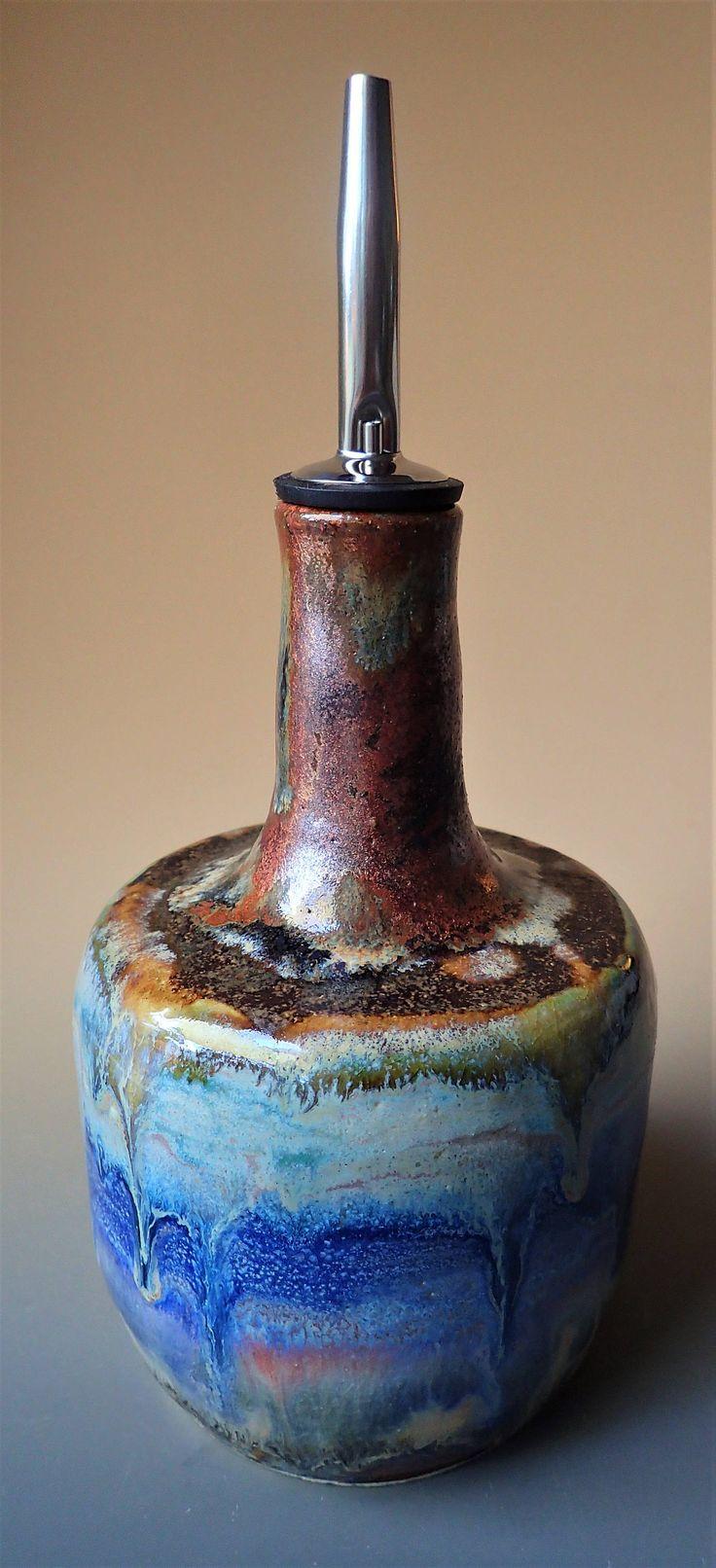 Stoneware Porcelain Blend Handmade Olive Oil Bottle Olive Oil Dispenser by LisaMelitaArt on Etsy