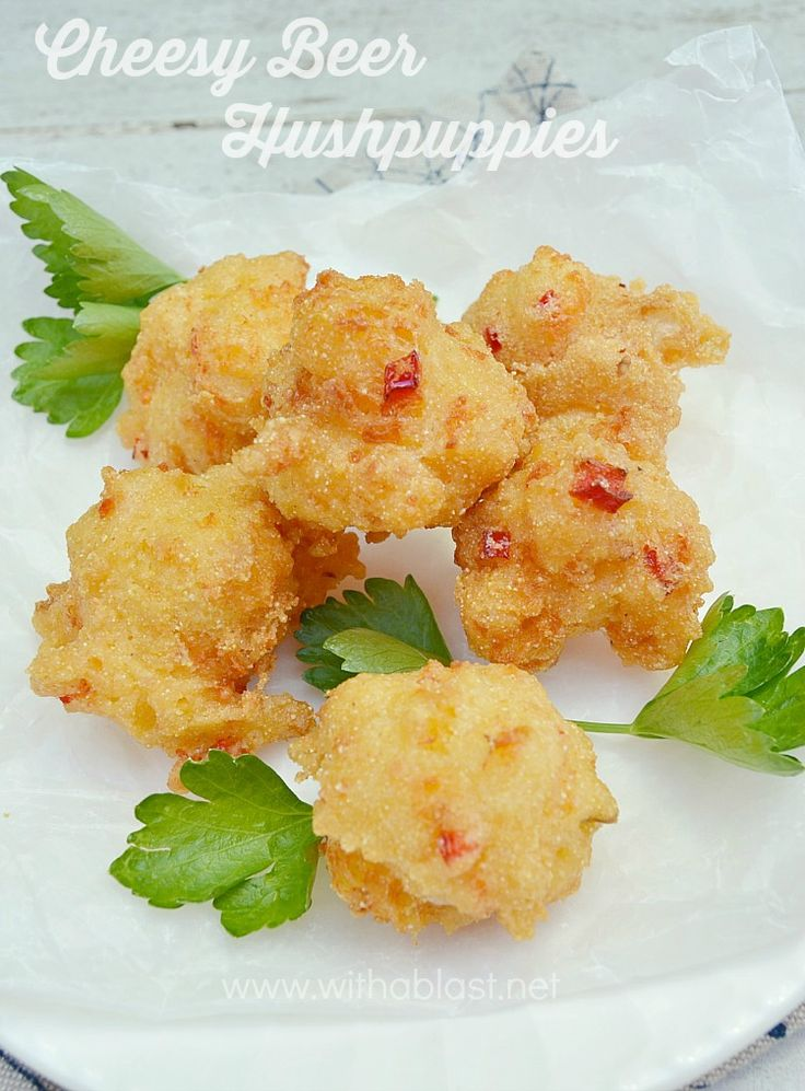 Cheesy Beer Hushpuppies ~ Puffy, featherlight with a hint of Chili - For all the Chili lovers out there - add one or two {or more!} chopped chilies to make it even more spicy with that extra bite in it!