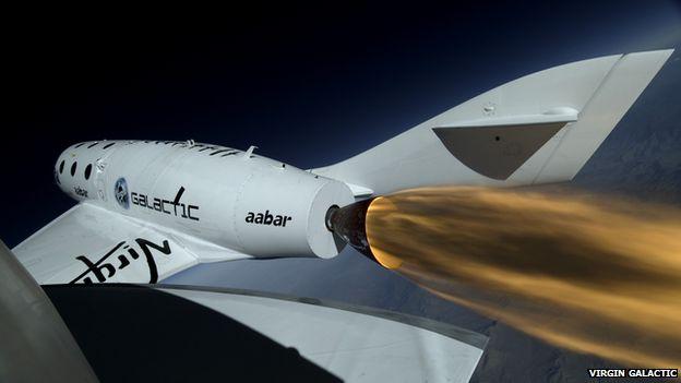 Onboard camera recording the Virgin Galactic space ship firing its rocket.