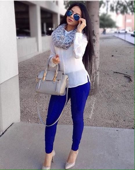 Love the royal blue pants.