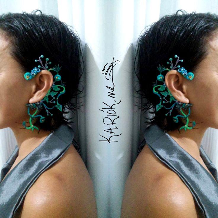 Brinco auricular Algas  Kariók.me Linha Cores  #coleçãometonímia #handmade