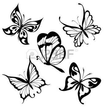 tribal: Set  black white butterflies of a tattoo