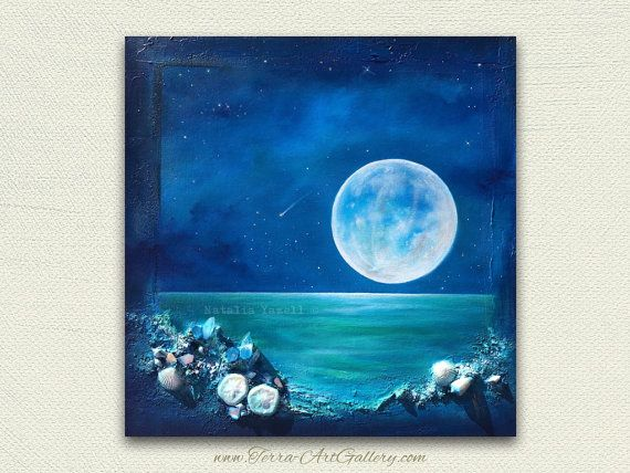 Moon Reflections, One of a kind original painting. 16x16in, Moon ocean sea beach home decor, crystals,