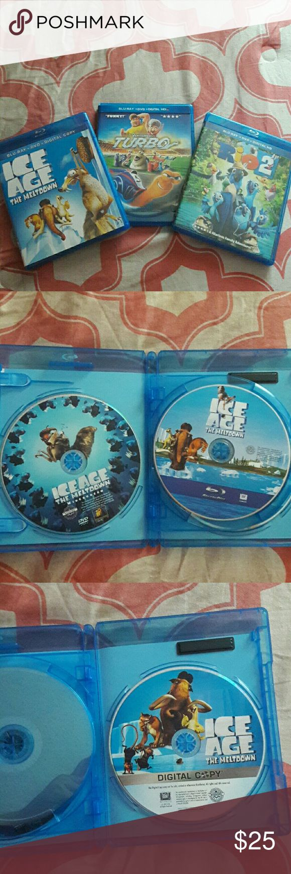 Movies Ice Age The Meltdown, Rio 2, Turbo  BLU-RAY + DVD + DIGITAL HD NO SCRATCHES (SEE PICTURES) CASES LOOK LIKE NEW BlueRayDisc Other