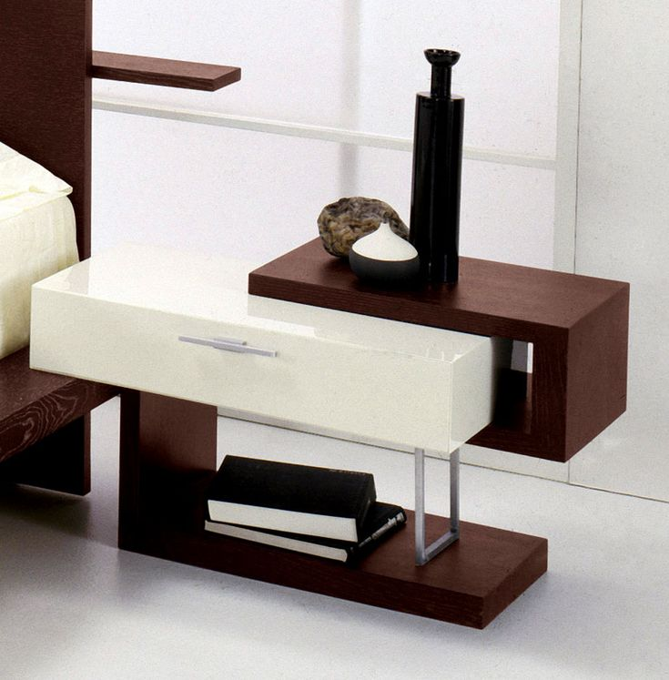 Bedroom: Pleasant Modern Two Tone White With Brown Nighstand Design,  Excellent Bedroom Nightstands And Bedside Tables Ideas