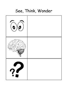 Use this graphic organizer alongside an image to get students thinking and analyzing! Kids will love breaking apart a picture that you display by first listing all that they see. Then they will share what they think might be happening (accept all answers neutrally to keep students sharing!).