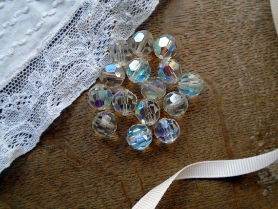 Vintage Aurora Borealis Beads Round Drilled Bead by PositivelyFlo