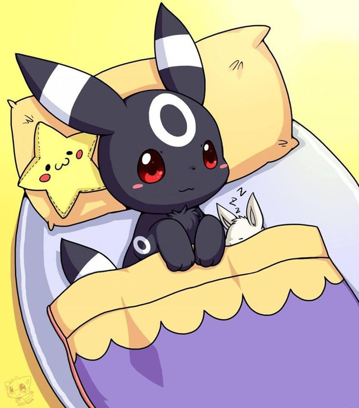 Look how small the eevee is!!!  Adorable!!! ...  umbreon, eevee, pokemon