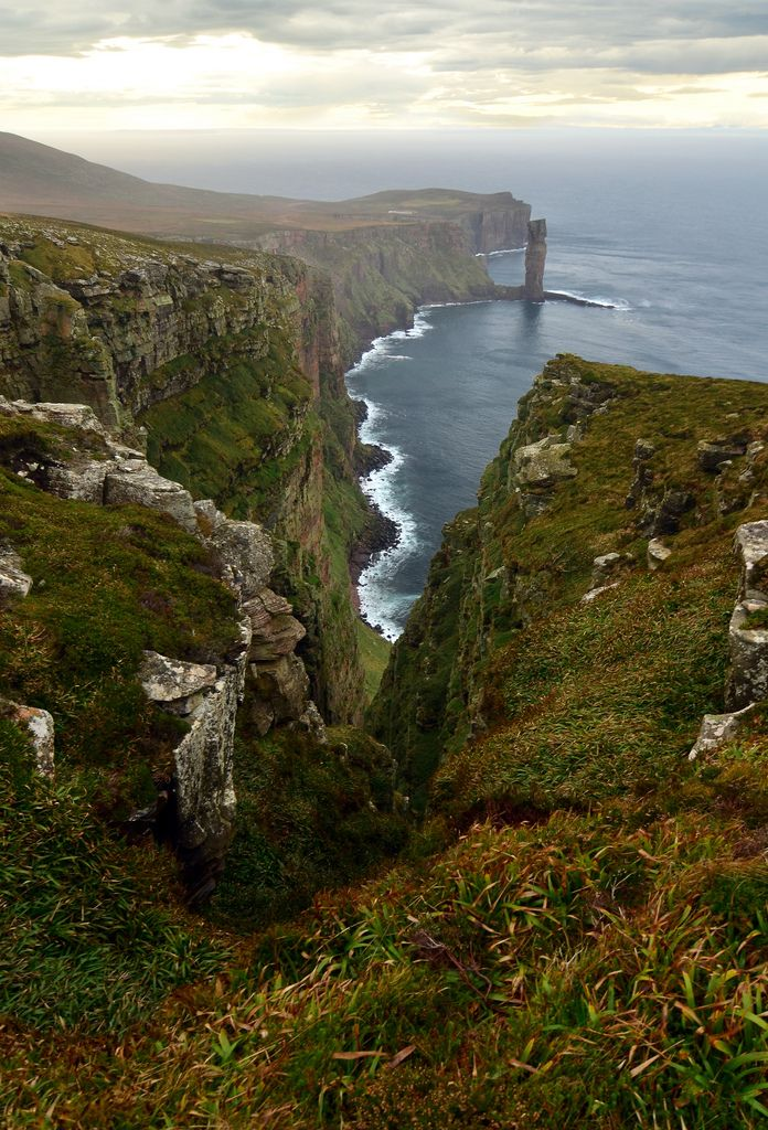 The Old Man of Hoy, Orkney Islands, Scotland. You will first see this amazing sea stack if taking the ferry from Scrabster to Stromness. if you have time, take a walk from Rackwick Bay to the Old Man of Hoy