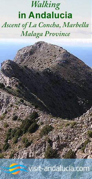 Walking in Andalucia, Spain Ascent of La Concha at Marbella in Málaga Province A walk to the top of La Concha naturally breaks itself into three parts. The first section is about 4 kilometres and a gentle uphill stroll to a saddle from which you have spectacular views over Marbella, Puerto Banus and the Mediterranean.