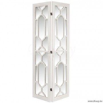 J-Line Antiek wit houten kamerscherm paravent 2 delig met spiegels 85