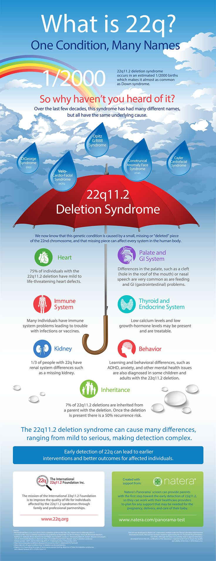 22q11.2 deletion syndrome is thought to be almost as common as Down syndrome. So why haven't you heard of it?  Until recently, this syndrome had many different names since the underlying cause was unknown. Now we know it results from a missing section of chromosome 22. A key to early diagnosis of 22q is prenatal genetic screening. Natera's Panorama prenatal screen can provide parents with their first steps towards the early detection of genetic conditions so that they  can prepare for their…