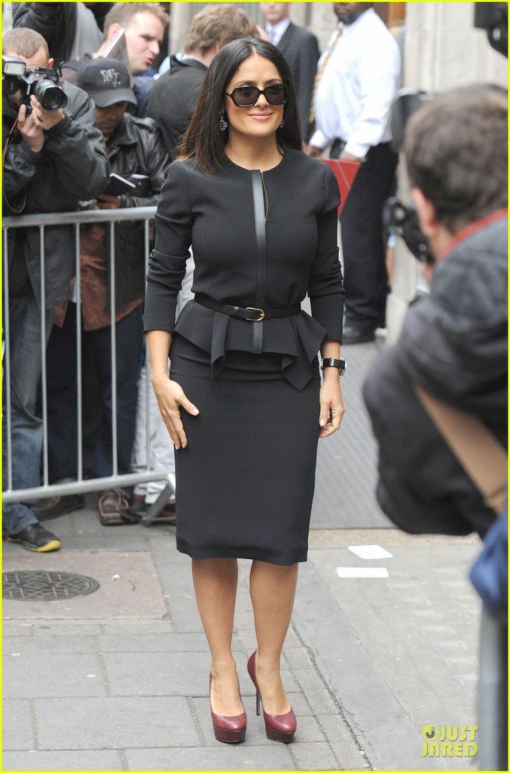 Salma Hayek rocking black skirt suit www.justjared.com