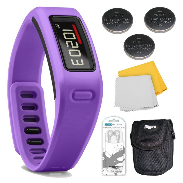 Vivofit Fitness Band Bundle with Heart Rate Monitor (Purple) Plus Deluxe Bundle. Bundle Includes Xtreme Audio Earbuds with Microphone, 3 Energizer 3 Volt Lithium Button Cell Watch Batteries, Deluxe Case, and Micro Fiber Cleaning Cloth. Sold as 1 EA.